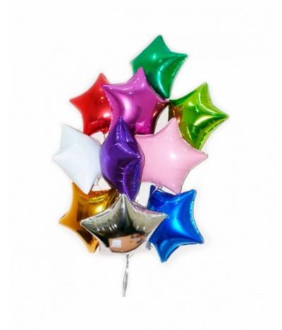 Гелевые шары фольгированные звезды