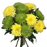 Букет из желтой и зеленой хризантемы